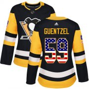 Wholesale Cheap Adidas Penguins #59 Jake Guentzel Black Home Authentic USA Flag Women's Stitched NHL Jersey