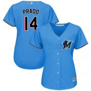 Wholesale Cheap Marlins #14 Martin Prado Blue Alternate Women's Stitched MLB Jersey