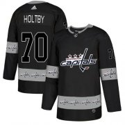 Wholesale Cheap Adidas Capitals #70 Braden Holtby Black Authentic Team Logo Fashion Stitched NHL Jersey