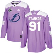 Cheap Adidas Lightning #91 Steven Stamkos Purple Authentic Fights Cancer Youth 2020 Stanley Cup Champions Stitched NHL Jersey