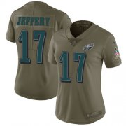 Wholesale Cheap Nike Eagles #17 Alshon Jeffery Olive Women's Stitched NFL Limited 2017 Salute to Service Jersey