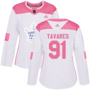 Wholesale Cheap Adidas Maple Leafs #91 John Tavares White/Pink Authentic Fashion Women's Stitched NHL Jersey