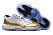 Wholesale Cheap Air Jordan 11 Low Olympic White/Gold-Black