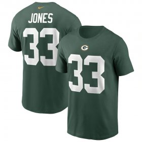 Wholesale Cheap Green Bay Packers #33 Aaron Jones Nike Team Player Name & Number T-Shirt Green