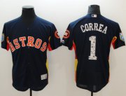 Wholesale Cheap Astros #1 Carlos Correa Navy Blue 2018 Spring Training Authentic Flex Base Stitched MLB Jersey