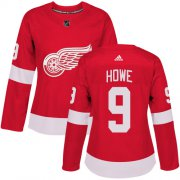 Wholesale Cheap Adidas Red Wings #9 Gordie Howe Red Home Authentic Women's Stitched NHL Jersey