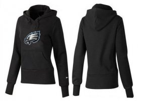Wholesale Cheap Women\'s Philadelphia Eagles Logo Pullover Hoodie Black