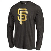 Wholesale Cheap San Francisco Giants Gold Collection Long Sleeve Tri-Blend T-Shirt Black