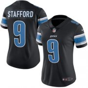 Wholesale Cheap Nike Lions #9 Matthew Stafford Black Women's Stitched NFL Limited Rush Jersey