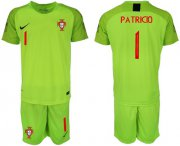 Wholesale Cheap Portugal #1 Patricio Shiny Green Goalkeeper Soccer Country Jersey