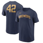 Wholesale Cheap Milwaukee Brewers Nike Jackie Robinson Day Team 42 T-Shirt Navy