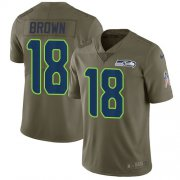 Wholesale Cheap Nike Seahawks #18 Jaron Brown Olive Men's Stitched NFL Limited 2017 Salute To Service Jersey