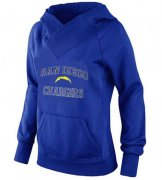 Wholesale Cheap Women's Los Angeles Chargers Heart & Soul Pullover Hoodie Blue