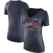Wholesale Cheap Detroit Tigers Nike Women's Practice Tri-Blend V-Neck T-Shirt Navy