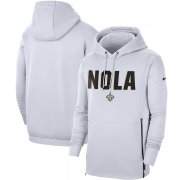 Wholesale Cheap New Orleans Saints Nike Sideline Local Performance Pullover Hoodie White