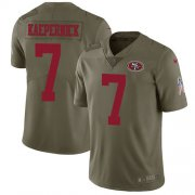 Wholesale Cheap Nike 49ers #7 Colin Kaepernick Olive Youth Stitched NFL Limited 2017 Salute to Service Jersey