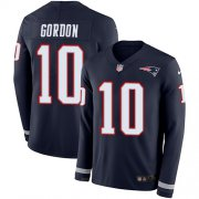 Wholesale Cheap Nike Patriots #10 Josh Gordon Navy Blue Team Color Men's Stitched NFL Limited Therma Long Sleeve Jersey