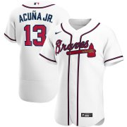 Wholesale Cheap Atlanta Braves #13 Ronald Acuna Jr. Men's Nike White Home 2020 Authentic Player MLB Jersey