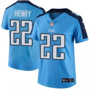 Wholesale Cheap Nike Titans #22 Derrick Henry Light Blue Women's Stitched NFL Limited Rush Jersey