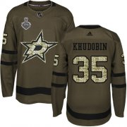 Cheap Adidas Stars #35 Anton Khudobin Green Salute to Service Youth 2020 Stanley Cup Final Stitched NHL Jersey