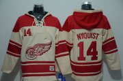 Wholesale Cheap Red Wings #14 Gustav Nyquist Cream Sawyer Hooded Sweatshirt Stitched NHL Jersey