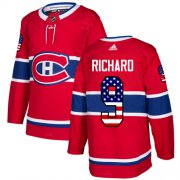 Wholesale Cheap Adidas Canadiens #9 Maurice Richard Red Home Authentic USA Flag Stitched Youth NHL Jersey
