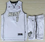 Wholesale Cheap Miami Heat 1 Chris Bosh White Silver Number Revolution 30 Jerseys Shorts NBA Suits