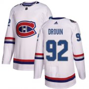 Wholesale Cheap Adidas Canadiens #92 Jonathan Drouin White Authentic 2017 100 Classic Stitched NHL Jersey