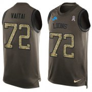 Wholesale Cheap Nike Lions #72 Halapoulivaati Vaitai Green Men's Stitched NFL Limited Salute To Service Tank Top Jersey