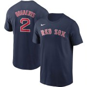 Wholesale Cheap Boston Red Sox #2 Xander Bogaerts Nike Name & Number T-Shirt Navy