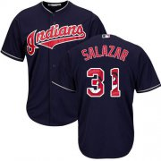 Wholesale Cheap Indians #31 Danny Salazar Navy Blue Team Logo Fashion Stitched MLB Jersey