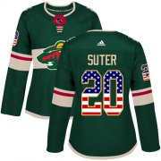 Wholesale Cheap Adidas Wild #20 Ryan Suter Green Home Authentic USA Flag Women's Stitched NHL Jersey