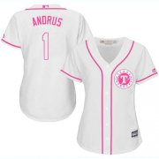 Wholesale Cheap Rangers #1 Elvis Andrus White/Pink Fashion Women's Stitched MLB Jersey