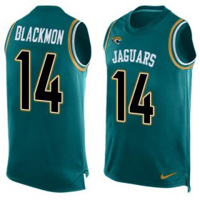 Wholesale Cheap Nike Jaguars #14 Justin Blackmon Teal Green Alternate Men\'s Stitched NFL Limited Tank Top Jersey