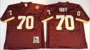 Wholesale Cheap Mitchell And Ness Redskins #70 Sam Huff Red Throwback Stitched NFL Jersey