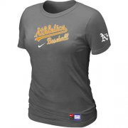 Wholesale Cheap Women's Oakland Athletics Nike Short Sleeve Practice MLB T-Shirt Crow Grey