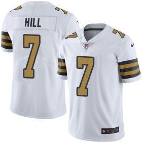 Wholesale Cheap Nike Saints #7 Taysom Hill White Men\'s Stitched NFL Limited Rush Jersey