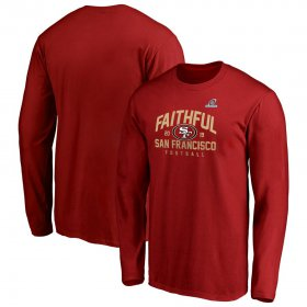 Wholesale Cheap San Francisco 49ers 2019 NFL Playoffs Bound Hometown Checkdown Long Sleeve T-Shirt Scarlet
