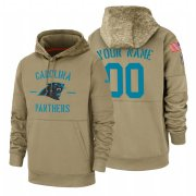 Wholesale Cheap Carolina Panthers Custom Nike Tan 2019 Salute To Service Name & Number Sideline Therma Pullover Hoodie