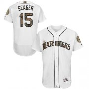 Wholesale Cheap Mariners #15 Kyle Seager White Flexbase Authentic Collection Memorial Day Stitched MLB Jersey