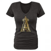 Wholesale Cheap Women's Los Angeles Angels of Anaheim Gold Collection Tri-Blend V-Neck T-Shirt Black