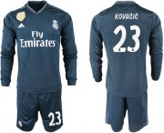 Wholesale Cheap Real Madrid #23 Kovacic Away Long Sleeves Soccer Club Jersey