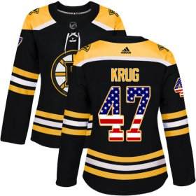 Wholesale Cheap Adidas Bruins #47 Torey Krug Black Home Authentic USA Flag Women\'s Stitched NHL Jersey