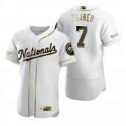 Wholesale Cheap Washington Nationals #7 Trea Turner White Nike Men's Authentic Golden Edition MLB Jersey