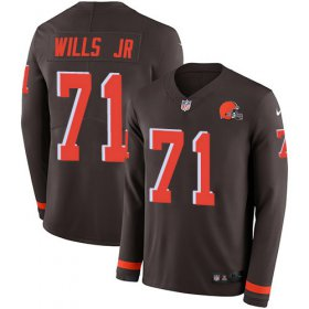 Wholesale Cheap Nike Browns #71 Jedrick Wills JR Brown Team Color Men\'s Stitched NFL Limited Therma Long Sleeve Jersey