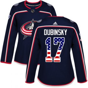 Wholesale Cheap Adidas Blue Jackets #17 Brandon Dubinsky Navy Blue Home Authentic USA Flag Women\'s Stitched NHL Jersey