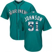 Wholesale Cheap Mariners #51 Randy Johnson Green Team Logo Fashion Stitched MLB Jersey