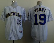 Wholesale Cheap Brewers #19 Robin Yount White(Blue Strip) Stitched MLB Jersey