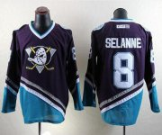 Wholesale Cheap Ducks #8 Teemu Selanne Purple/Turquoise CCM Throwback Stitched NHL Jersey