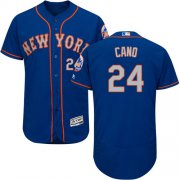 Wholesale Cheap Mets #24 Robinson Cano Blue(Grey NO.) Flexbase Authentic Collection Stitched MLB Jersey